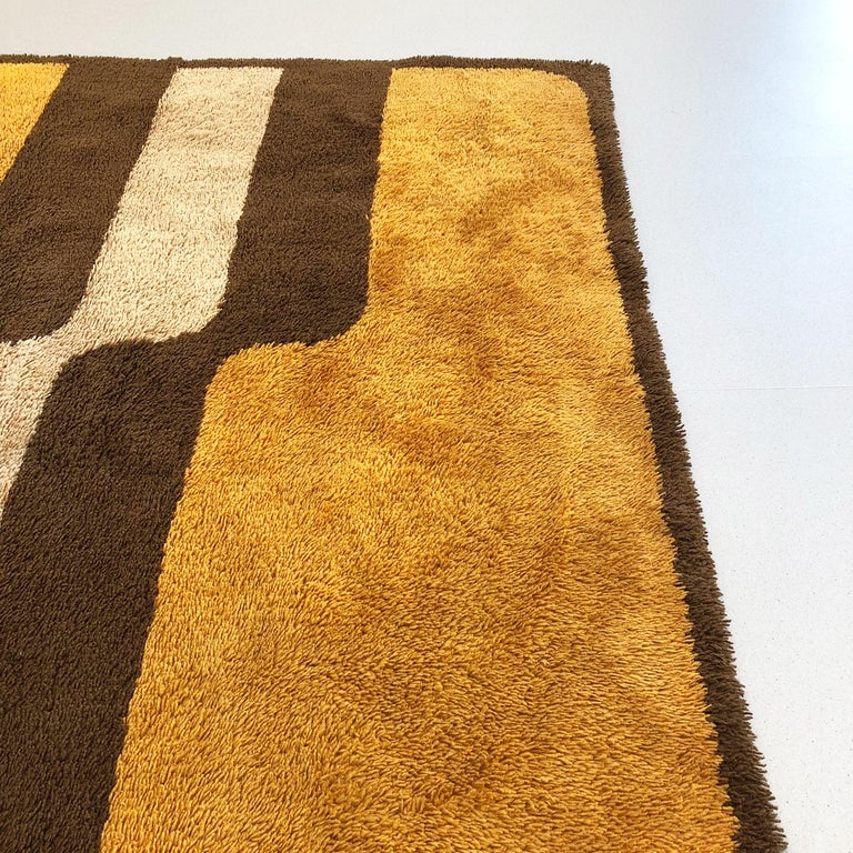 Extra Large Pop Art Multi-Color High Pile Wool Rug by Besmer, Germany, 1970s For Sale 1