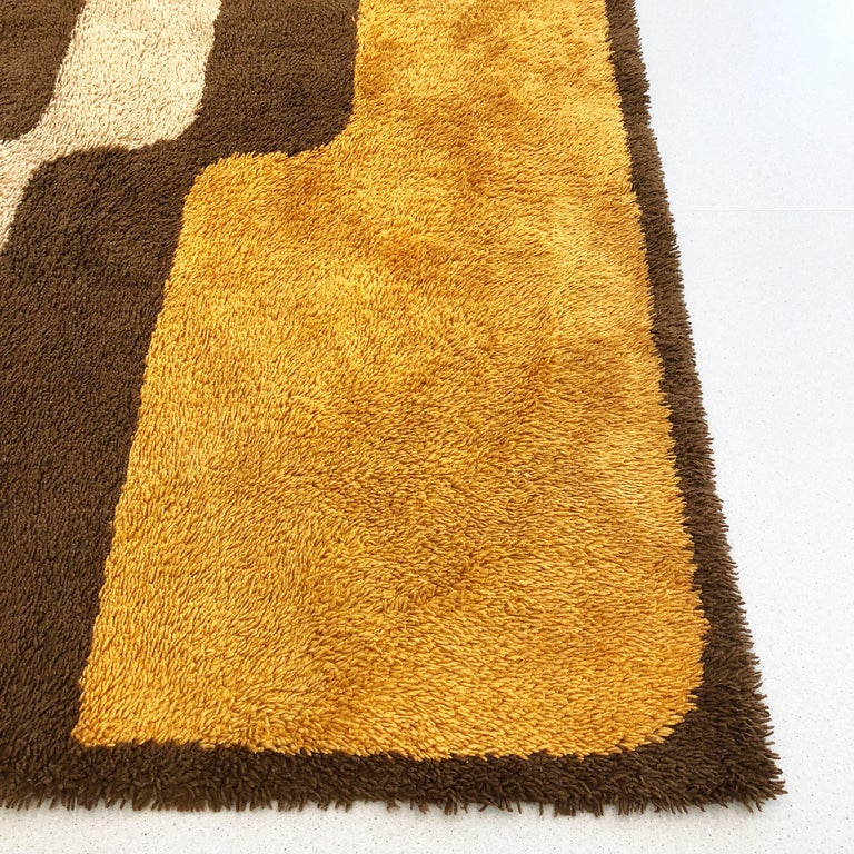 Extra Large Pop Art Multi-Color High Pile Wool Rug by Besmer, Germany, 1970s For Sale 2