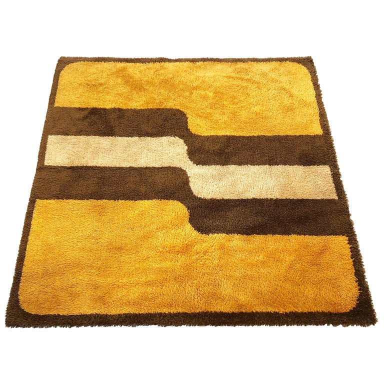 Extra Large Pop Art Multi-Color High Pile Wool Rug by Besmer, Germany, 1970s For Sale