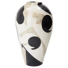 Extra Large Postmodern Tessellated Et Cetera Mango Jar Floor Vase, 1990s