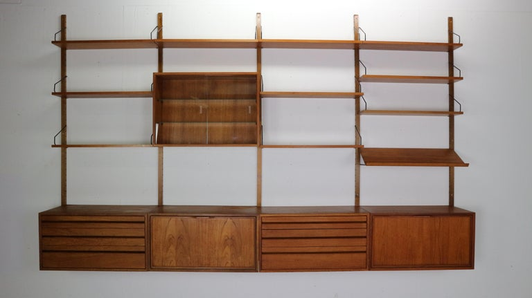 Extra large Danish design wall system or shelving unit by Poul Cadovius for Royal System, designed in Denmark in 1950s.