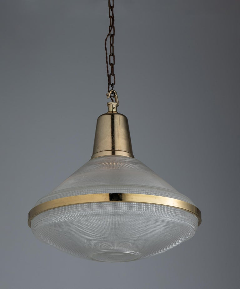 Brass Extra Large Prismatic Deco Lights, England circa 1920 For Sale