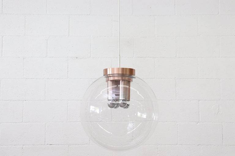 Anodized Extra Large RAAK Blown Glass Ceiling Lamp For Sale