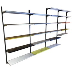Extra Large Retro 1960s Industrial Pilastro 21 Shelves Metal Wall Shelving Rack