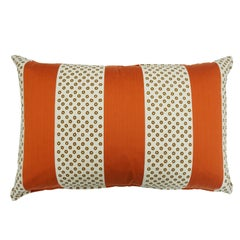 Extra Large Reversible Throw Pillow with Orange Stripes, Ikat Dots and Leaves