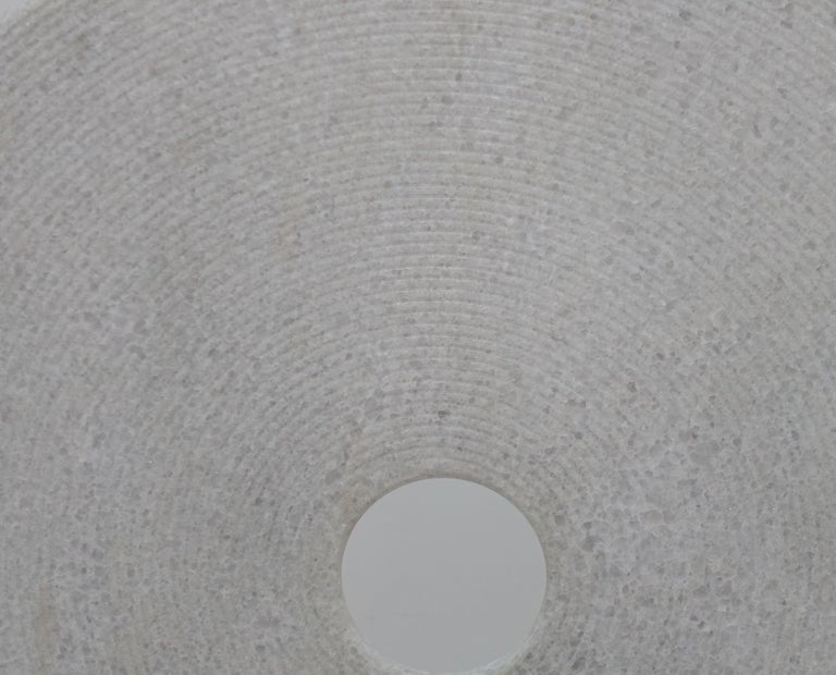 Extra Large Ribbed White Stone Disc Sculpture, China, Contemporary In Excellent Condition For Sale In New York, NY