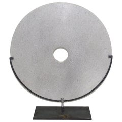 Extra Large Ribbed White Stone Disc Sculpture, China, Contemporary