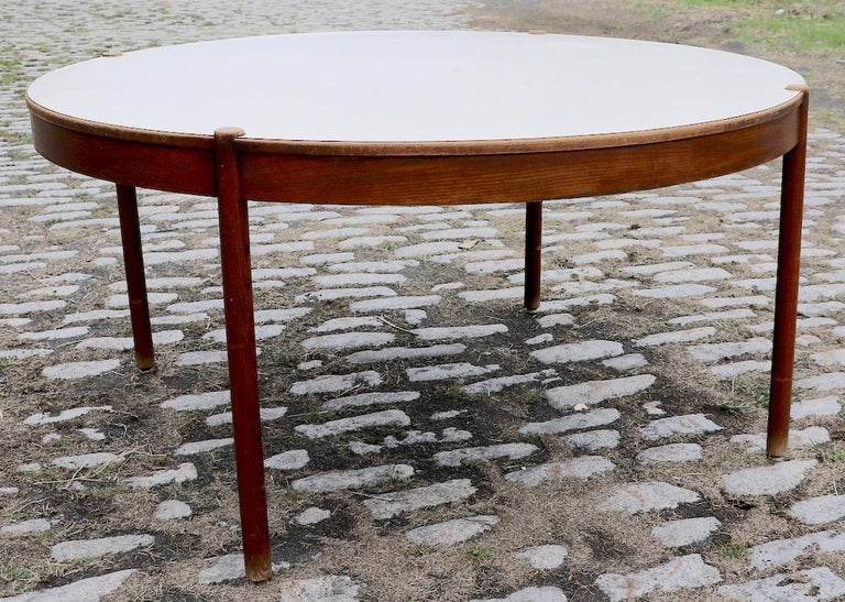 Extra Large Round Mid Century Modern Conference Dining Table