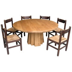 Extra Large Round Oak Sculptural Dining Table with Six Wooden and Rush Chairs