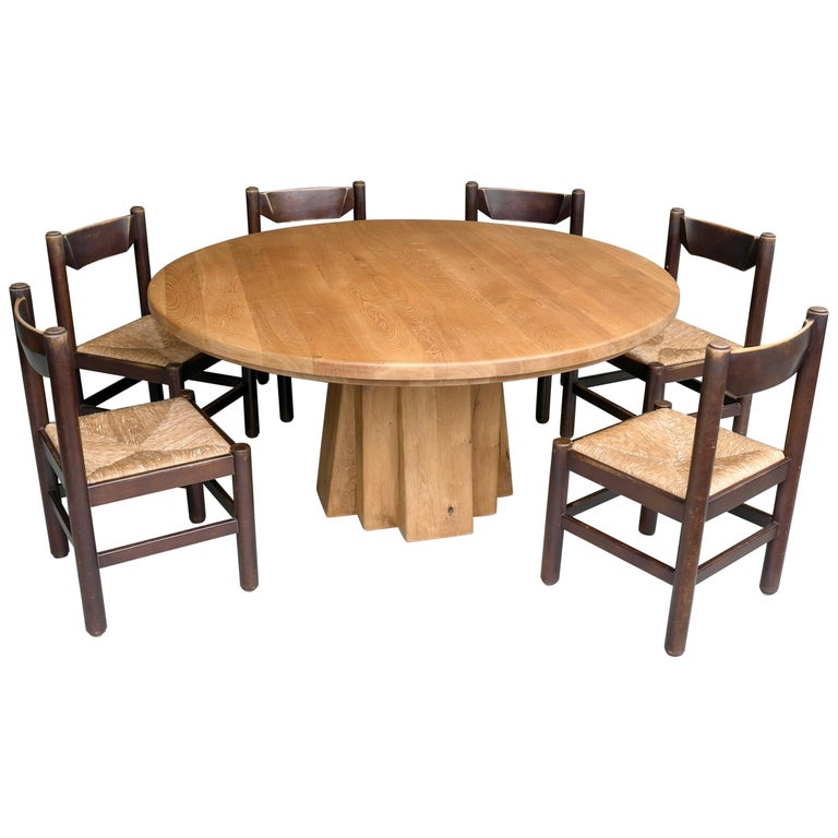 Extra Large Round Oak Sculptural Dining, Very Large Round Dining Table