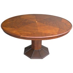 Large Round Sculptural Wooden Art Deco Dining Table by H.Pander & Zonen