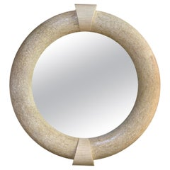 Extra Large Round Tessellated Marble Stone Architectural Mirror