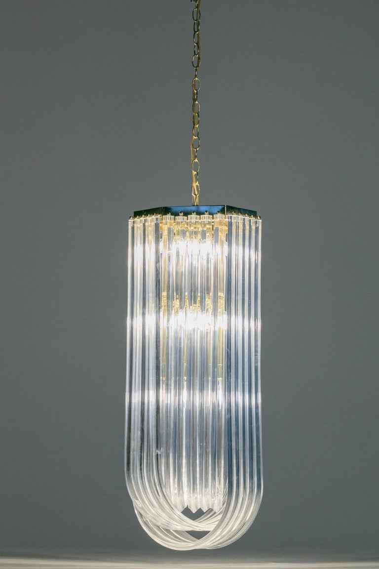 Late 20th Century Extra Large Sculptural Lucite and Brass Chandelier, circa 1970s For Sale