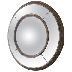 Extra Large Silver Leaf Modern Round Mirror, 20th Century