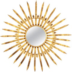 Extra Large Spanish 1950s Hollywood Regency Gilt Iron Convex Sunburst Mirror