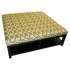 Extra Large Square Ottoman in Check Jacquard Wool Blend