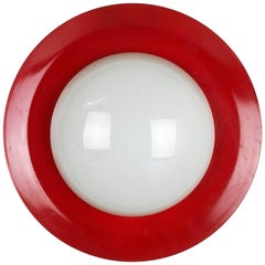Extra Large Stilnovo Style Metal Opaline Glass Wall Light, Red, Italy, 1960s