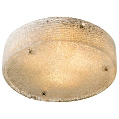 Extra Large Textured Glass Flush Mount Ceiling Light by Kaiser, 1960s