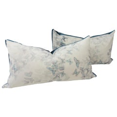 Extra Large Throw Pillows with Blue Butterfly Pattern
