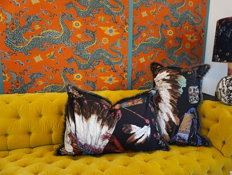 Extra Large Throw Pillows with Native American Headdress Print In Excellent Condition For Sale In Greenwich, CT