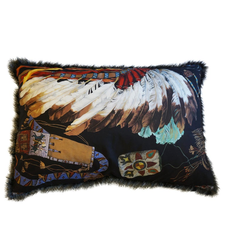 Contemporary Extra Large Throw Pillows with Native American Headdress Print For Sale