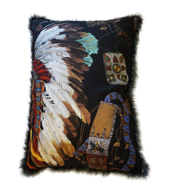 Cotton Extra Large Throw Pillows with Native American Headdress Print For Sale