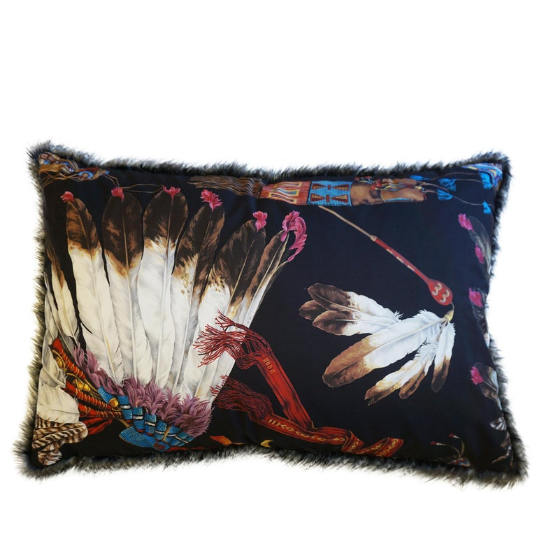 Extra Large Throw Pillows with Native American Headdress Print For Sale 1
