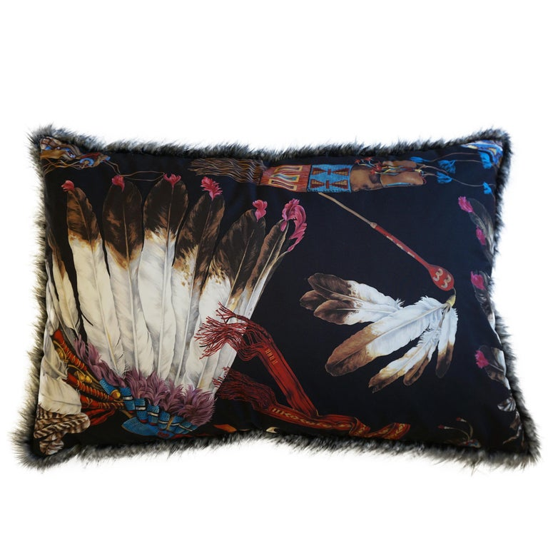 Extra Large Throw Pillows with Native American Headdress Print For Sale 2