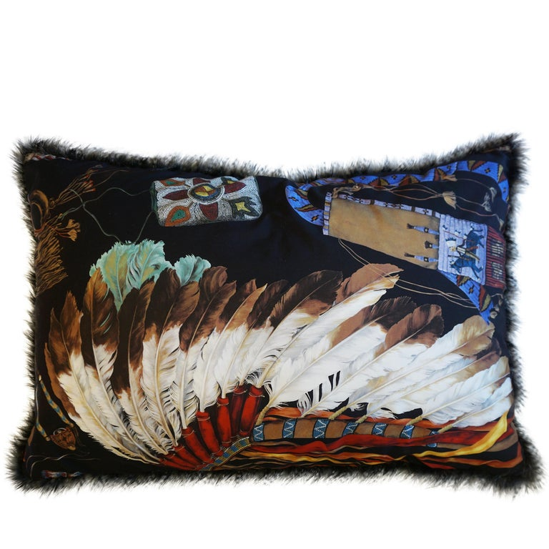 Extra Large Throw Pillows with Native American Headdress Print For Sale 3