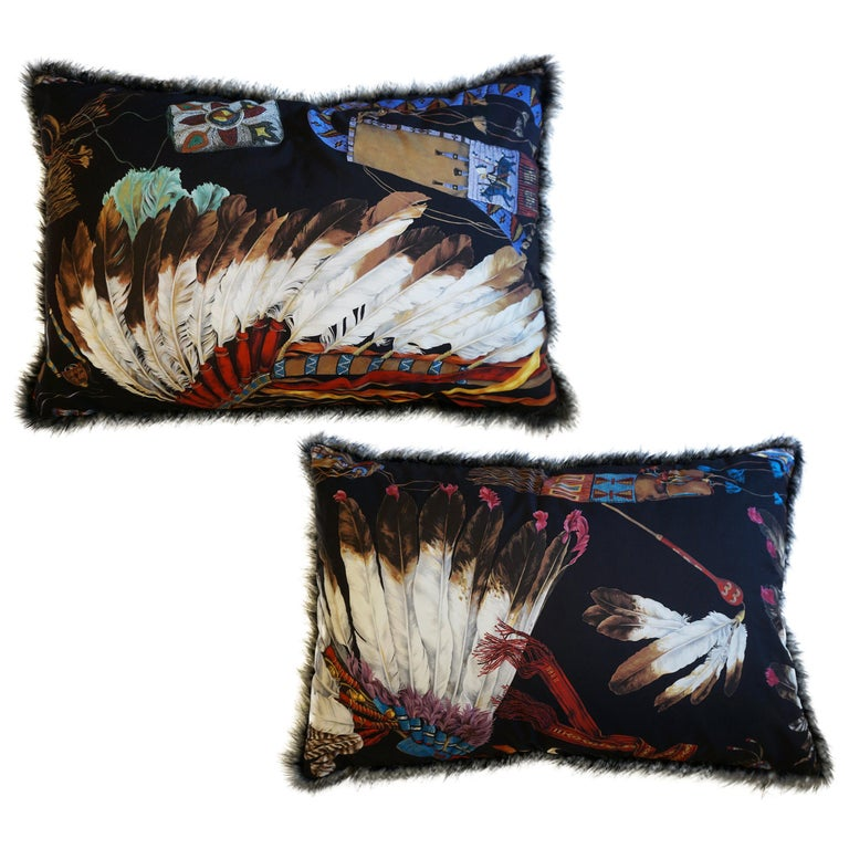 Extra Large Throw Pillows with Native American Headdress Print For Sale