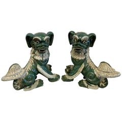 Extra-Large Pair of Chinese Glazed Porcelain Foo Dogs Sculptures