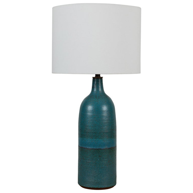 Extra Large Turquoise Bottle Lamp by Victoria Morris for Lawson-Fenning For Sale