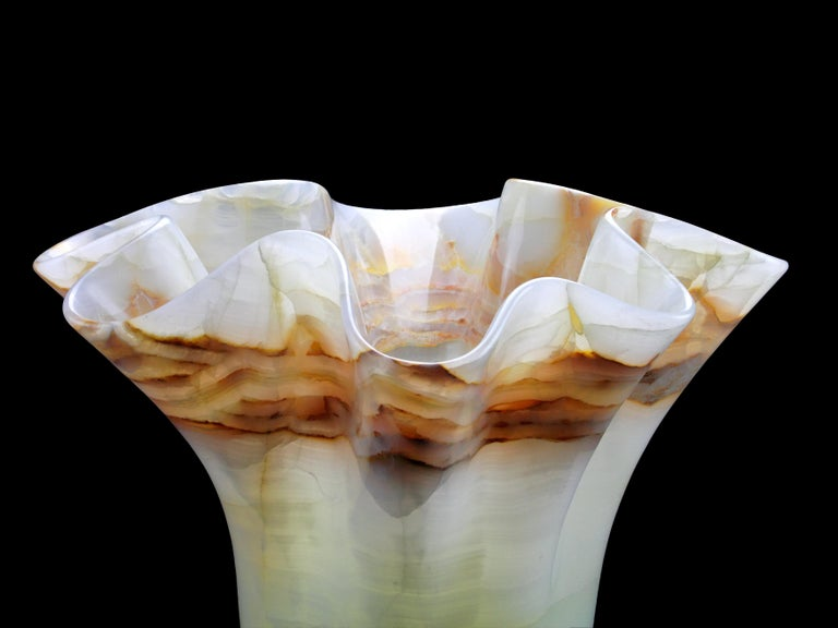 Extra Large Vase Sculpture Handmade of Solid Block of White Onyx Pieruga, Italy For Sale 5