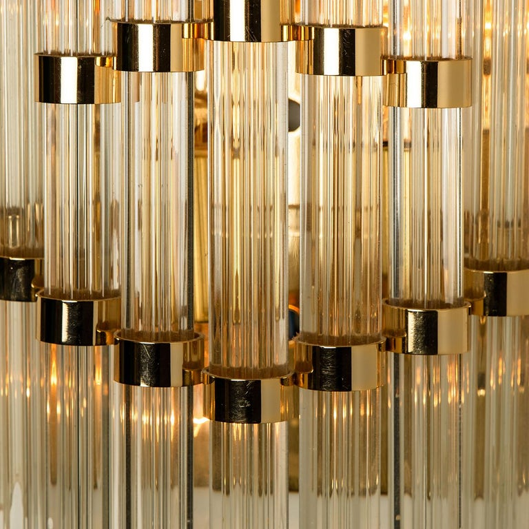 1 of the 8 large exceptional Murano glass wall sconces featuring four crystal clear glass