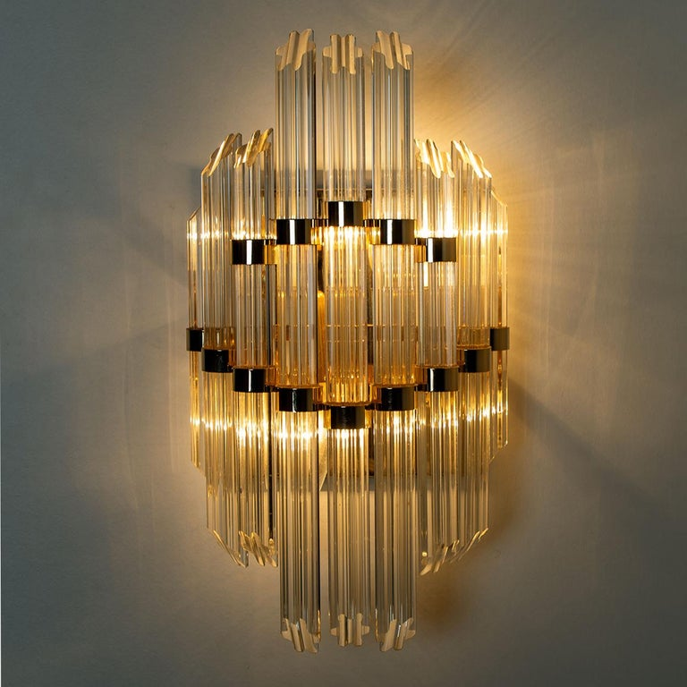 Art Deco Extra Large Venini Style Murano Glass and Gilt Brass Sconce, Italy For Sale