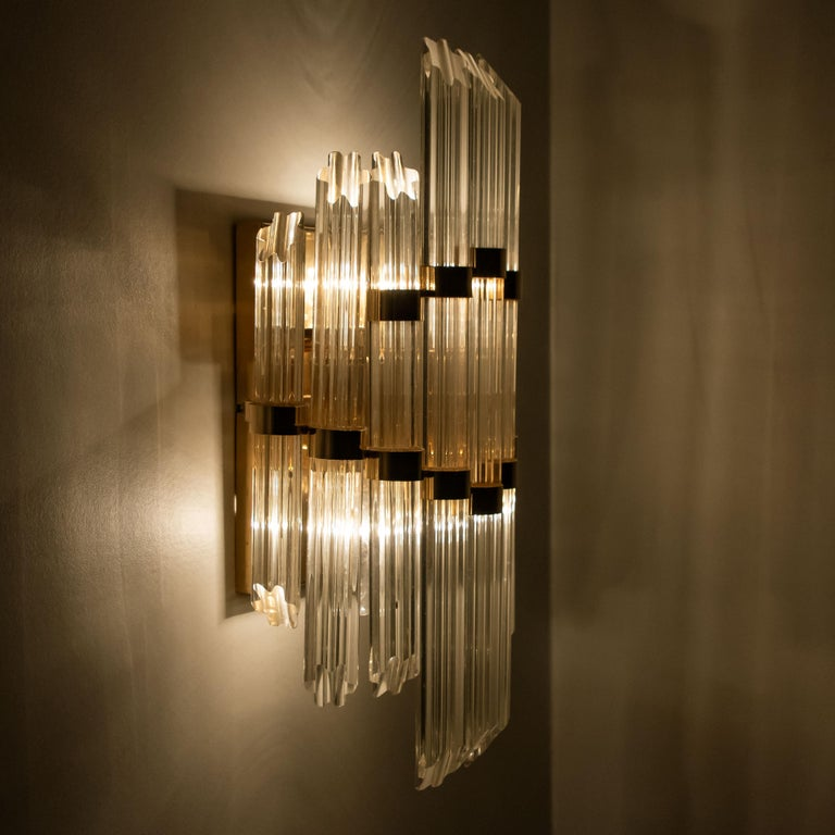 Plated Extra Large Venini Style Murano Glass and Gilt Brass Sconce, Italy For Sale