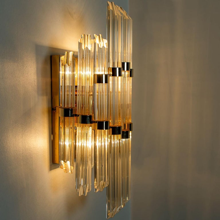 Late 20th Century Extra Large Venini Style Murano Glass and Gilt Brass Sconce, Italy For Sale