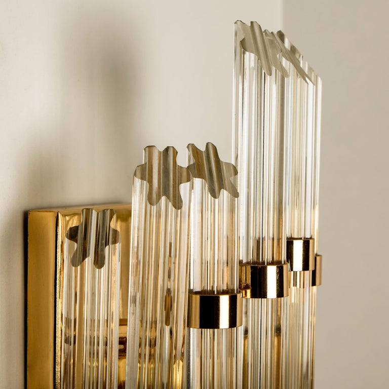 Extra Large Venini Style Murano Glass and Gilt Brass Sconce, Italy For Sale 2