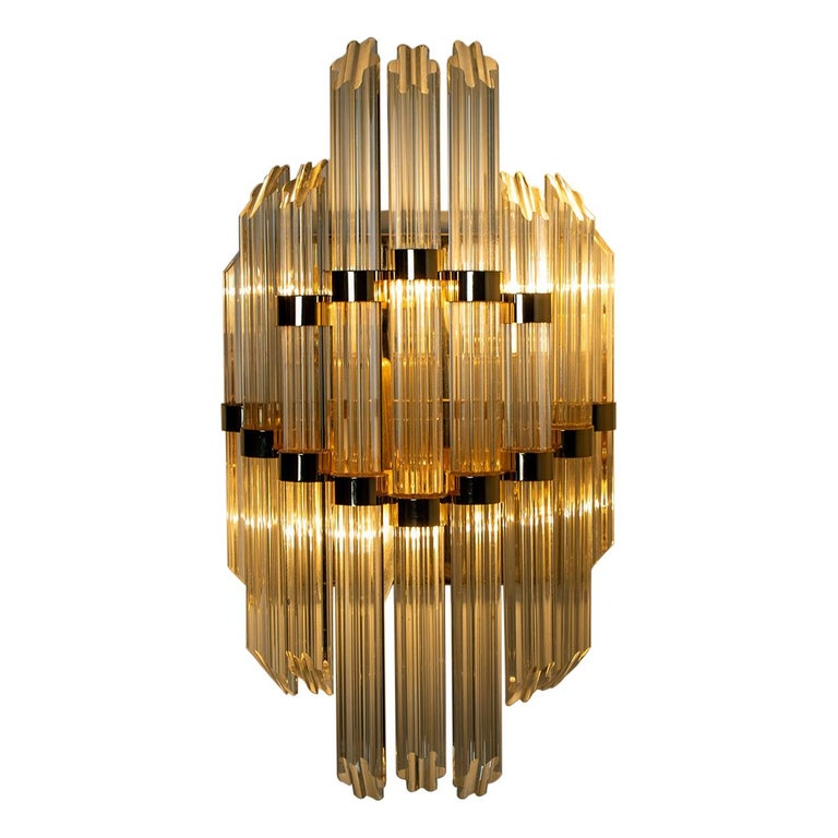 Extra Large Venini Style Murano Glass and Gilt Brass Sconce, Italy For Sale
