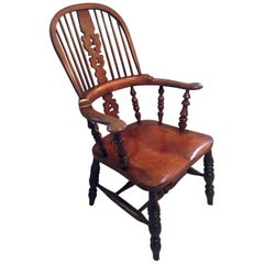Extra Large Victorian Antique Hoop Back Broad Arm Windsor Chair