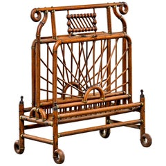Extra Large Victorian Bentwood and Brass Magazine Rack