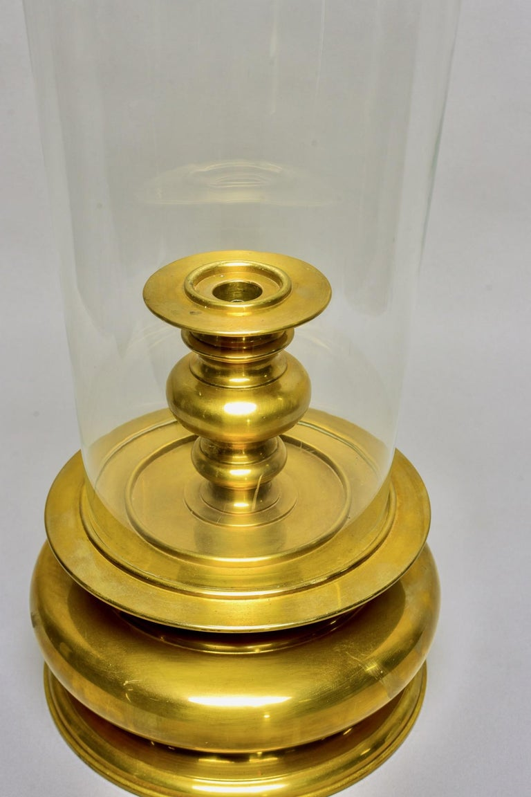 American Extra Large Vintage Chapman Brass Hurricane Style Candleholder