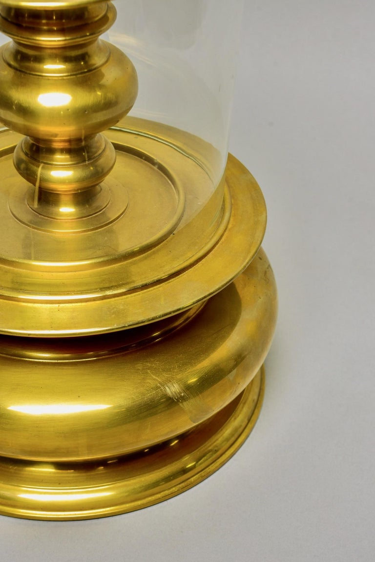 Extra Large Vintage Chapman Brass Hurricane Style Candleholder In Good Condition In Troy, MI