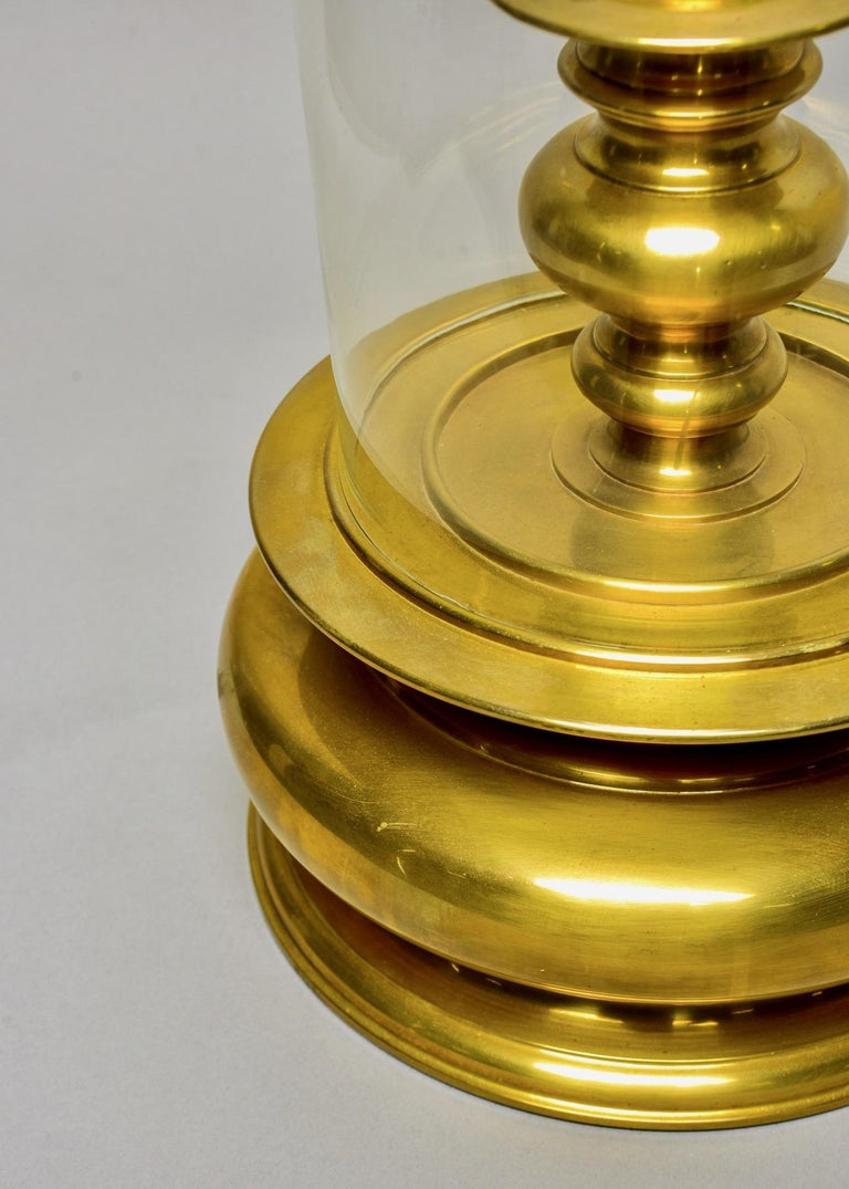 20th Century Extra Large Vintage Chapman Brass Hurricane Style Candleholder