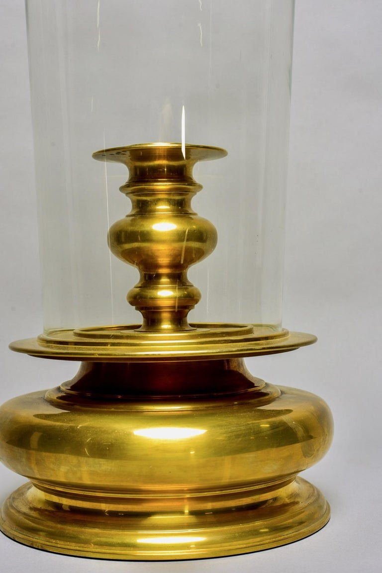 Extra Large Vintage Chapman Brass Hurricane Style Candleholder 1