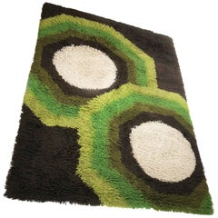 Extra Large Vintage Colorful Cubic High Pile Rug by Desso, Netherlands, 1970