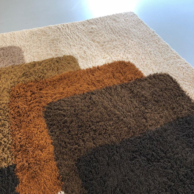 20th Century Extra Large Vintage Colorful High Pile Rug by Desso, Netherlands, 1970