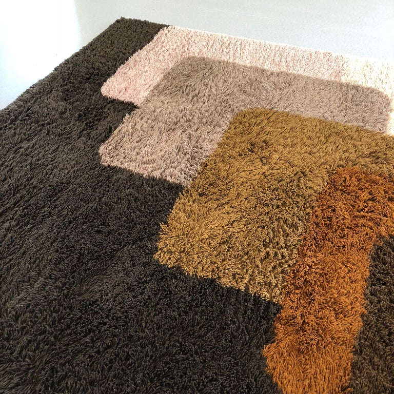 Acrylic Extra Large Vintage Colorful High Pile Rug by Desso, Netherlands, 1970