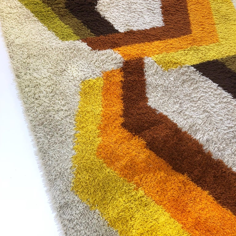 Acrylic Extra Large Vintage Multi-Color High Pile Rug by Desso, Netherlands, 1970s For Sale