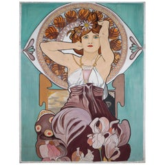 Extra Large, Watercolor Painting in the Style of Alphonse Mucha, 1930s
